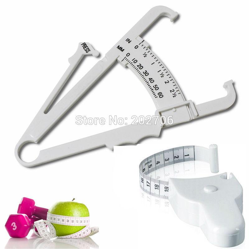 2pc Body Fat Caliper Body Mass Measuring Tape Tester Fitness Weight Loss Muscle