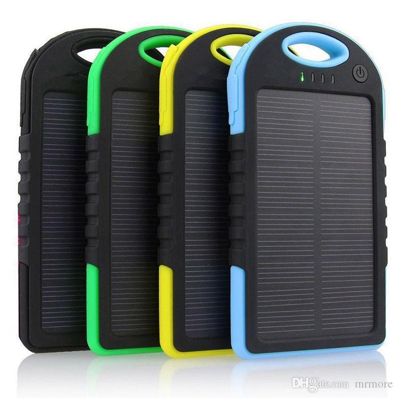 Il la cosa migliore Caricatore portatile della Banca solare di potere solare impermeabile 5000mAh della doppia batteria esterna Powerbank esterno di energia per il telefono di androide di iPhone