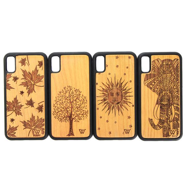 2018 جديد وصول Craved Wooden + PC حالة الهاتف لابل ، سعر الجملة الكرز الخشب غطاء الهاتف ل iPhone X