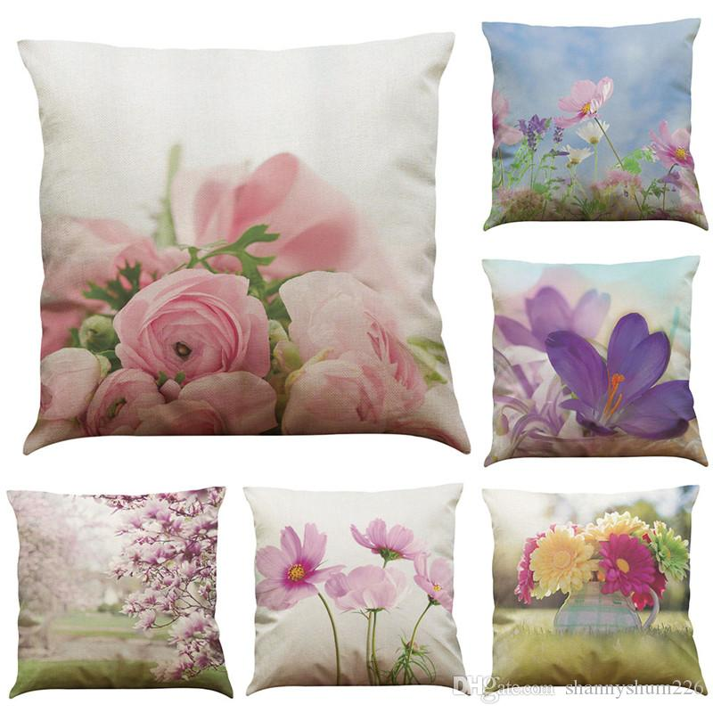 Novelty Floral Linen Cushion Cover Home Office Sofa Square Pillow Case Decorative Cushion Covers Pillowcases Without Insert(18*18Inch)