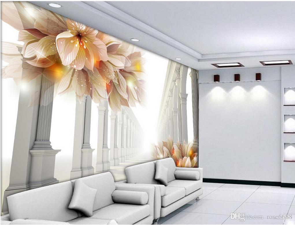 Photo Any Size 3d Beautiful Flowers In Tv Setting Wall Decoration 3d ...