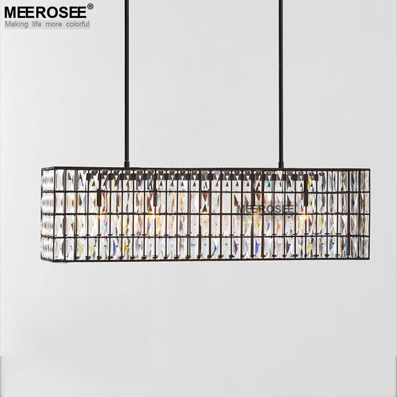 Good Quality K9 Crystal Chandelier Drop Lustre Rectangle Shape Hanging Lamp Light Fixture Luminaires Lamparas for Hotel Project