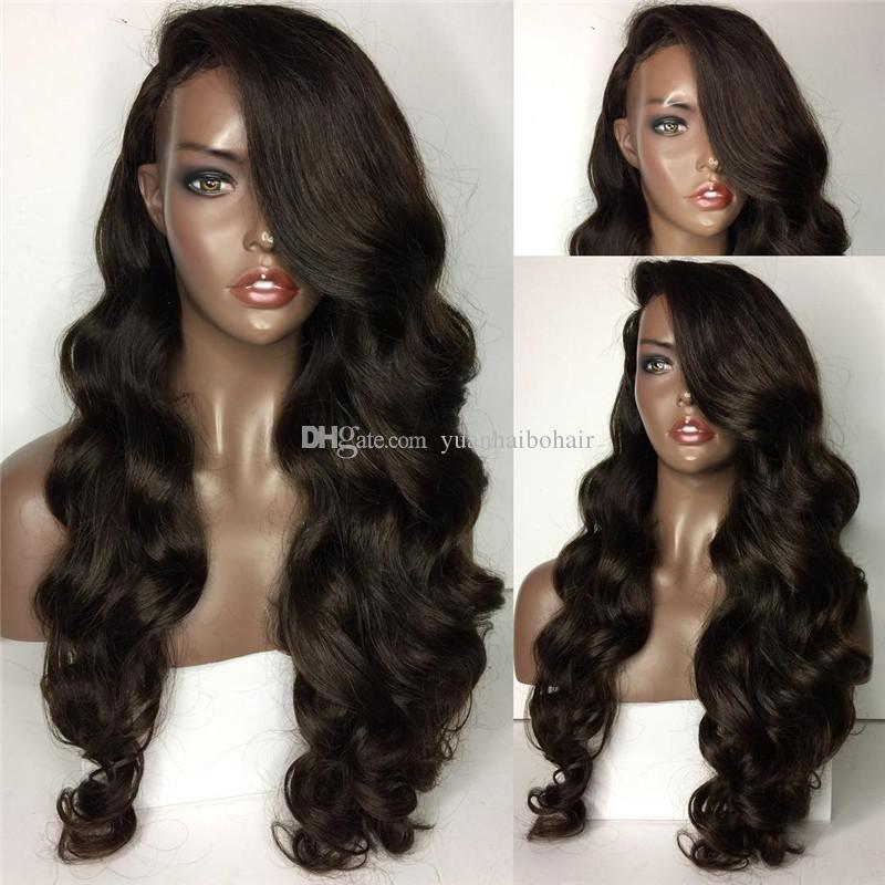 Full Lace Wig Long Human Hair Wig Virgin Brazilian Hair Loose Wave Front Lace Wigs For Black Woman Free Shipping