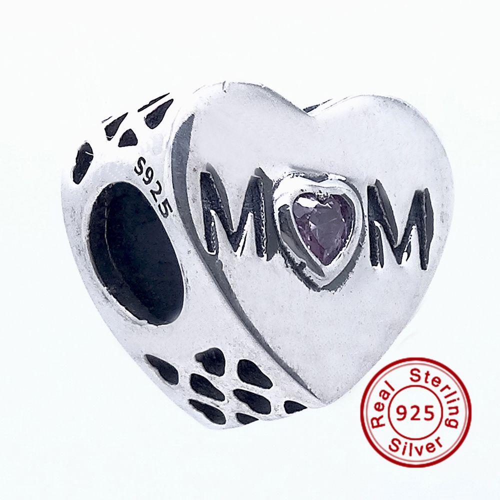 Madre corazón, rosa CZ 100% 925 cuentas de plata Sterling Fit Pandora Charms pulsera auténtica joyería de moda DIY