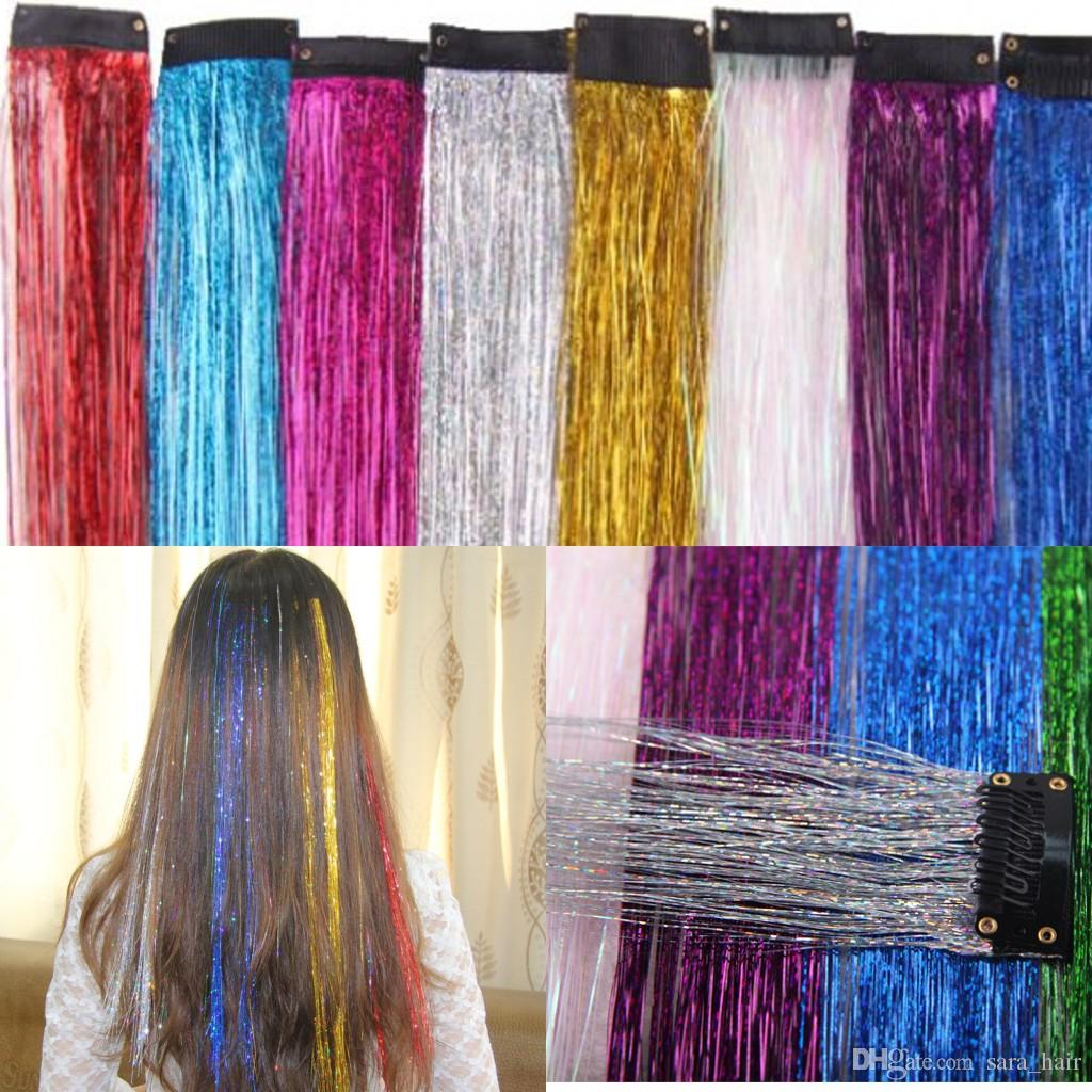 "Sara Mode Ombre Coloré Soyeux Clip droit en Extension de cheveux Synthétique Flash Extensions de Cheveux Extensions 45cm, 18 ""; 5PCS / Lot"