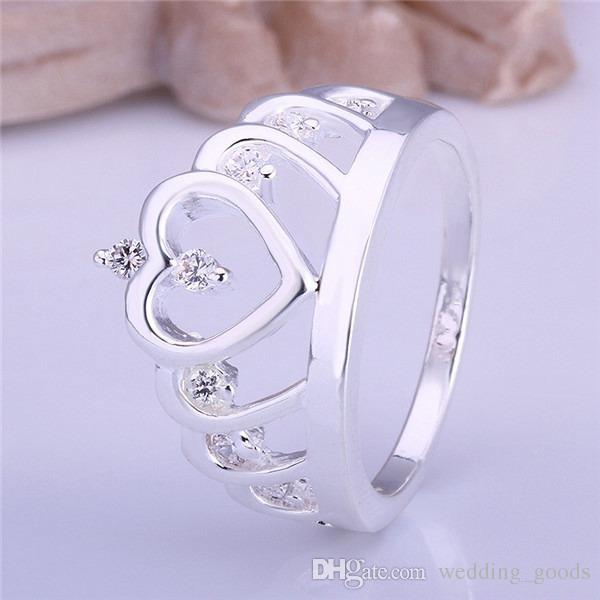 أفضل هدية مطعمة حجر شكل قلب تاج خاتم من الفضة والمجوهرات للمرأة WR407، أزياء بيضاء الأحجار الكريمة 925 الفضة خواتم الزفاف