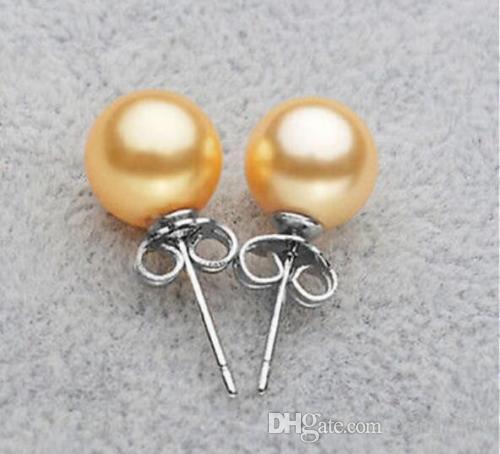 Orecchini in argento con perle di conchiglia del sud del mare di 8mm nuove