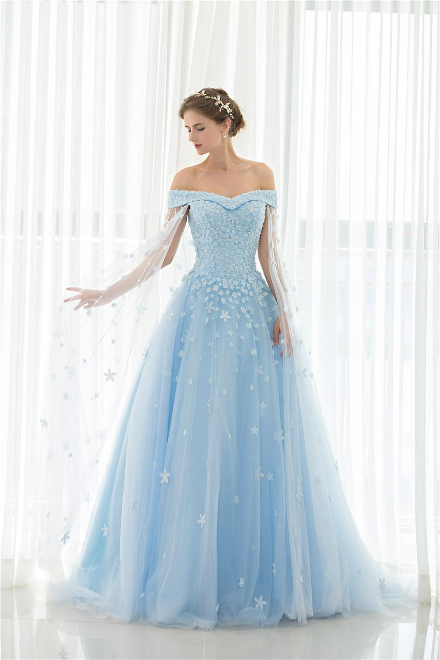Discount 2017 Light Blue Bridal Gowns Women Luxury New Train Flower ...