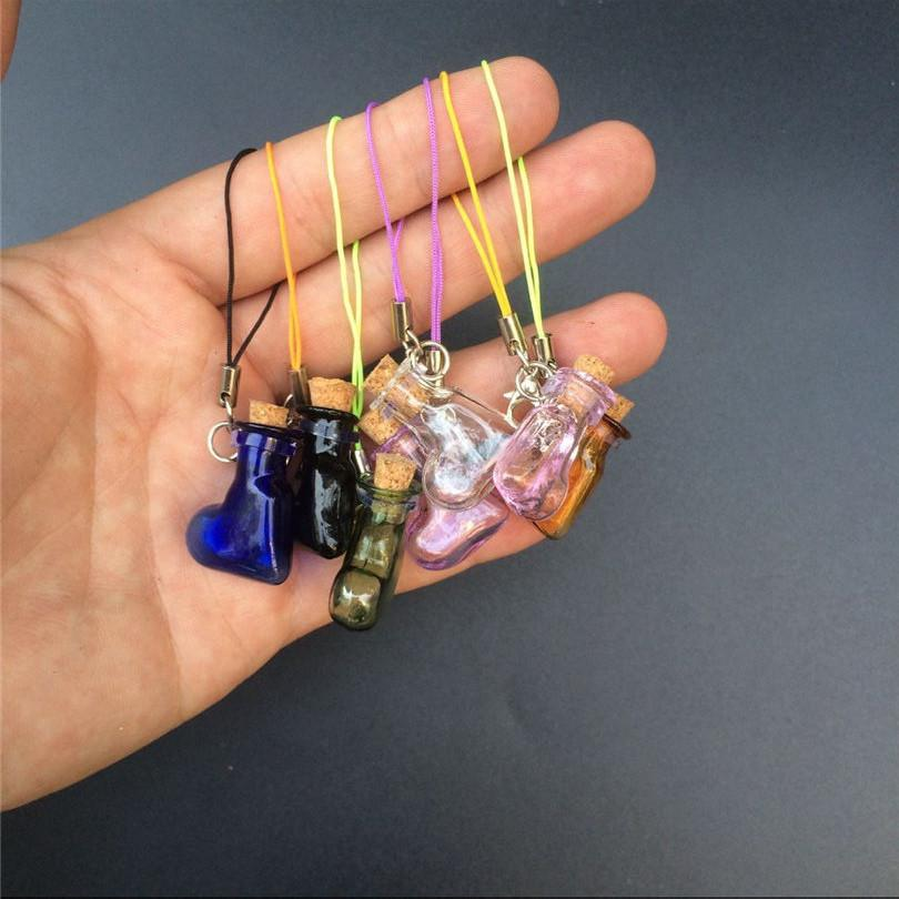 Mini Glass Bottles Pendant With Key Chains Lobster Clasp Bottles Handmade Pendant Gift Bottles Mix 7Colors2