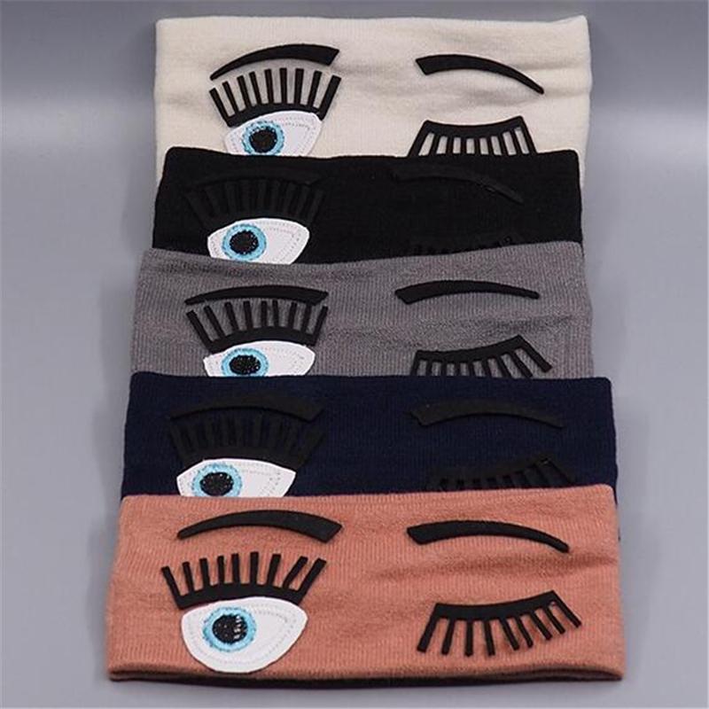 Große augen elastische stirnbänder frauen baumwolle haarbänder mädchen damenmode yoga sport haarbänder zubehör 17,5 cm * 7 cm schwarz weiß grau blau