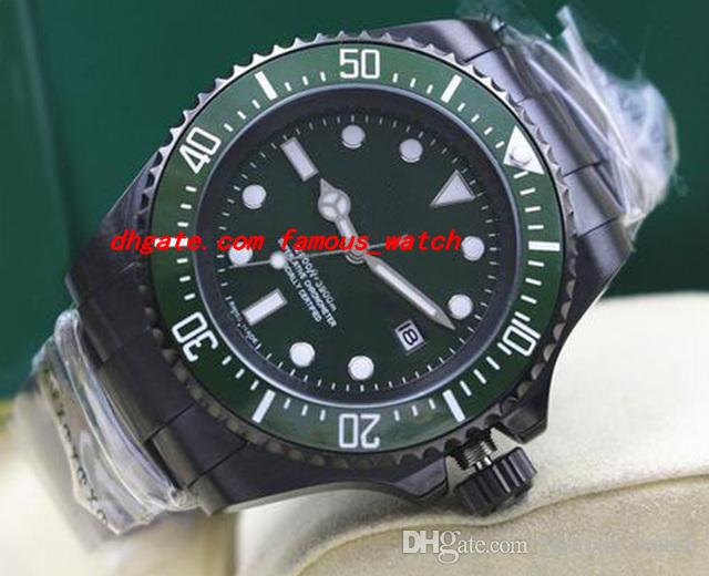 Luxus-Armbanduhr PVD-Beschichtung 116660 Mens-Edelstahl-Armband-grünes Vorwahlknopf-keramisches 44MM mechanische automatische Mann-Uhren