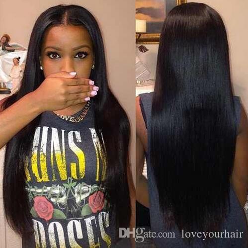 Encantadora larga sedosa recta peluca llena simulación pelucas de cabello humano pelucas rectas largas parte media para mujeres negras