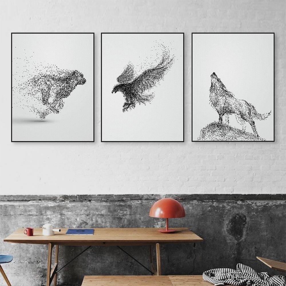 Noir Blanc Encre Sauvage Animal Cheval Aigle Loup Affiche Nordique Salon Mur Art Imprimer Image Accueil Déco Toile Peinture No Frame