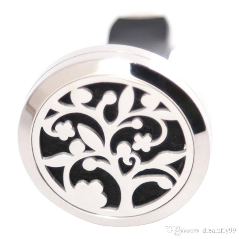 10pcs Tree of life 30mm Diffuser 316 Stainless Steel Pendant Car Aroma Locket Essential Oil Car Diffuser Lockets Free 100pcs Pads