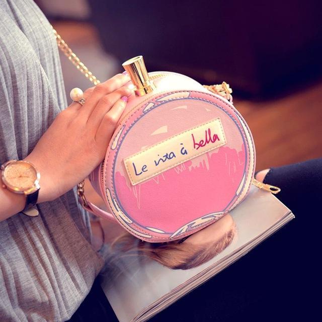 Atacado- frasco de perfume Moda pequeno pacote rodada bolsa de mini cadeia de impressão saco do mensageiro de um ombro saco bolsa pequena 2016 das mulheres