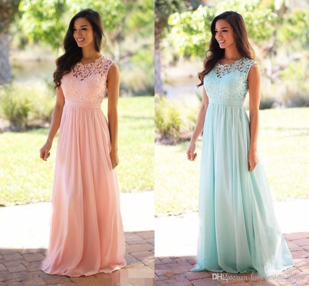 Blush Pink Lace Chiffon Bridesmaid Dress 2017 Lace Top Zipper Back Floor Length Long Maid of Honor Long Cheap