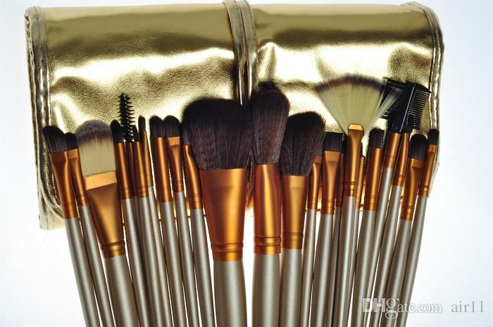 HOT Makeup Brushes 24 piece Professional Brush sets gold package free shipping 40 set