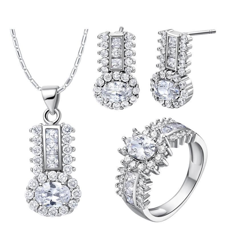 Argento 925 orecchini ciondolo anello donne regalo parola gioielli set nuovo vestito fatto vestito di cristallo di diamante di fascia alta moda vestito