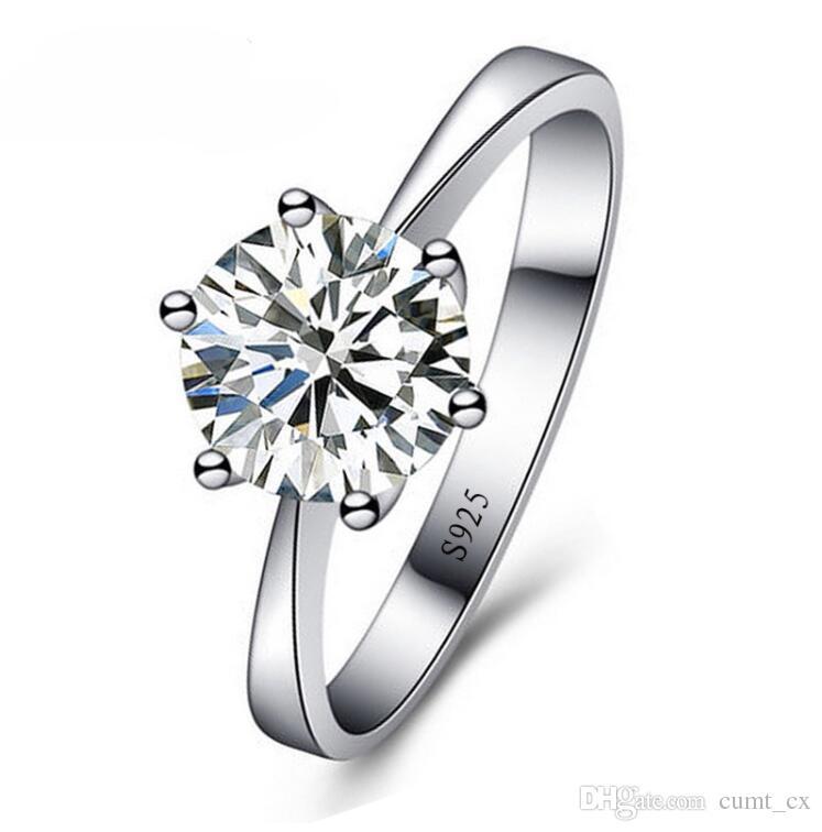 Romântico Clássico Rodada Cubic Zirconia 925 Anéis de Dedo de Prata Esterlina para As Mulheres de Jóias de Casamento Frete Grátis