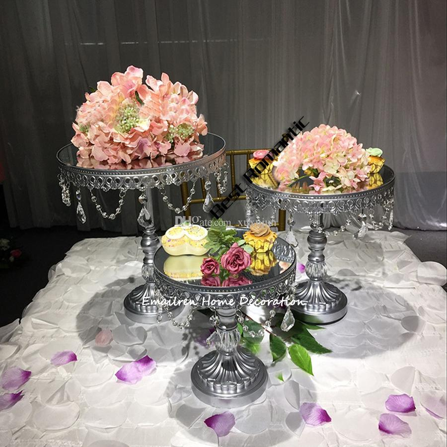 3 piece New Metal in Gold / Silver / support of the mirror plate of fruit Cake tray, Cake Decorating The Wedding
