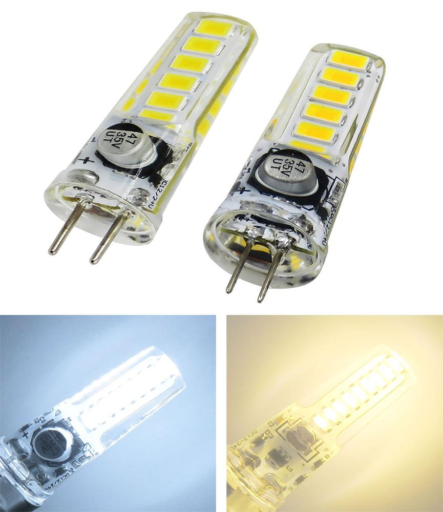 Bi-Pin Mini G4 GY6.35 LED Bulb AC DC 12V-24V 3W 280LM 12LEDs 5730 SMD Silicone crystal Candle Decorative pendant lamp Cabinet Light