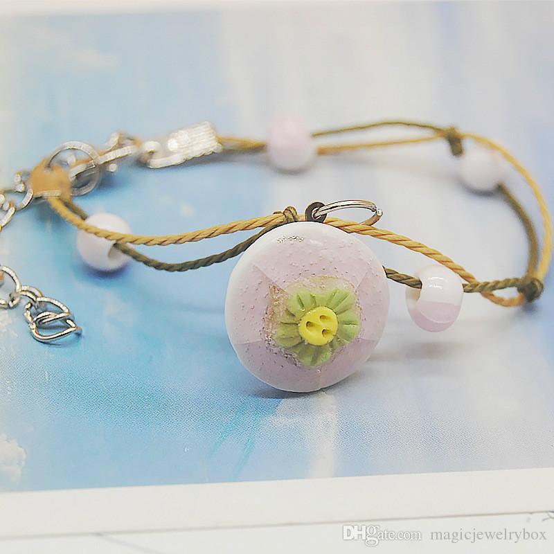 Nouveau style Bracelet Céramique Perles chinoise Fleurs pour femmes mignonnes filles Charms Vintage flwer Bracelet Femme Bijoux Mariage Cadeau