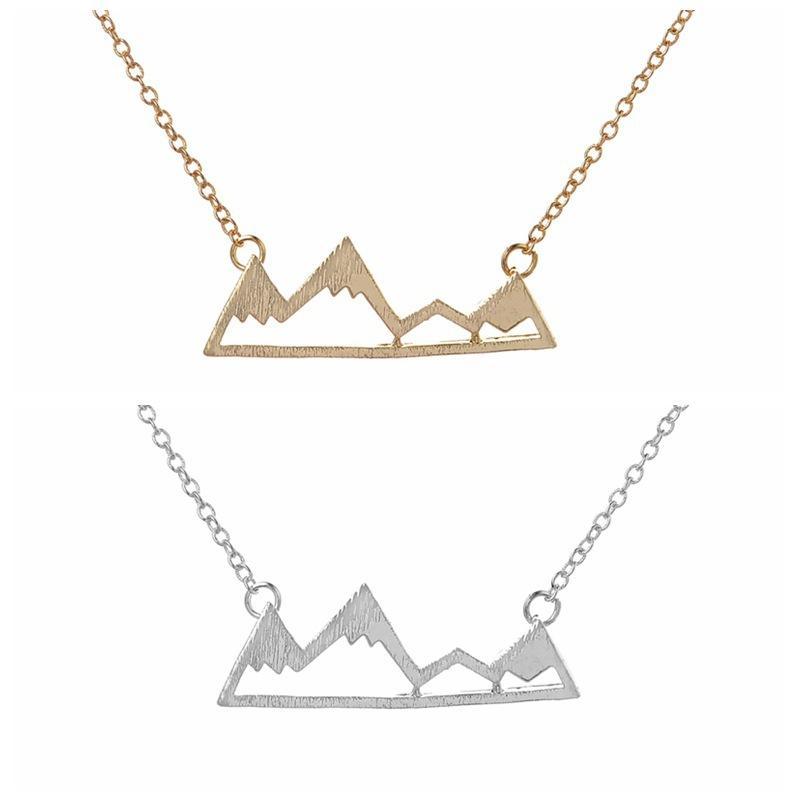 Mode Bergspitzen Halsketten geometrische Landschaft Charakter Anhänger Halsketten Galvanik Silber überzogene Halsketten Großhandel für Geschenk
