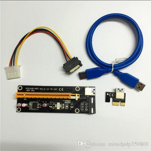 PCI-E PCI-PCI Express PCI-Express بحجم 60 سم 1 × إلى 16 × كابل Riser USB 3.0 مع ساتا إلى 4Pin IDE موليكس مزود الطاقة لـ BTC Miner RIG