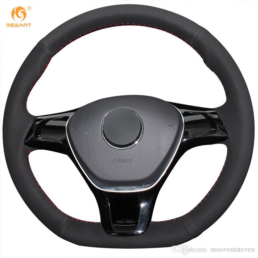 Mewant Black Suede Car Steering Wheel Cover for Volkswagen VW Golf 7 Mk7 New Polo Jetta Passat B8 Tiguan Sharan Touran Up