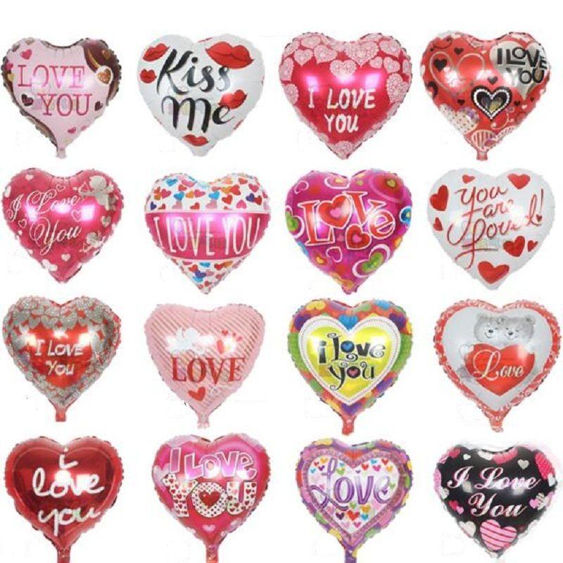 """10 шт./лот 18"""" я тебя люблю воздушные шары День Святого Валентина свадебные украшения праздничные атрибуты в форме сердца любовь фольги воздушные шары Globos"""