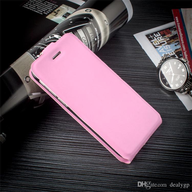 A capa do telefone do couro do plutônio de Brown lança para cima e para baixo a tampa esperta dos casos do telefone para o iphone 4s