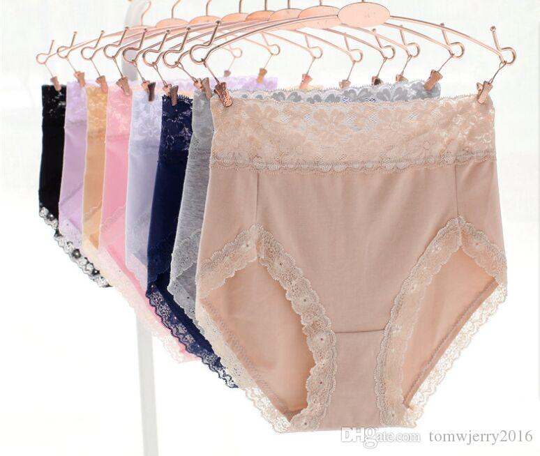 New arrival Womens Cotton Full Coverage High Waist Lace Panties Lady soft solid color breathable Briefs in 7 Colors Size M L
