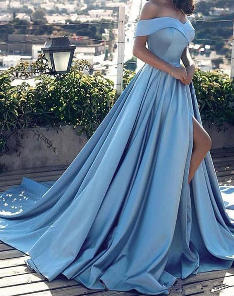 großhandel hellblaue kleider schulterfrei lange sexy side split satin kleid  sweep zug elegante satin party kleider billig von huangchengdress, 92,99 €