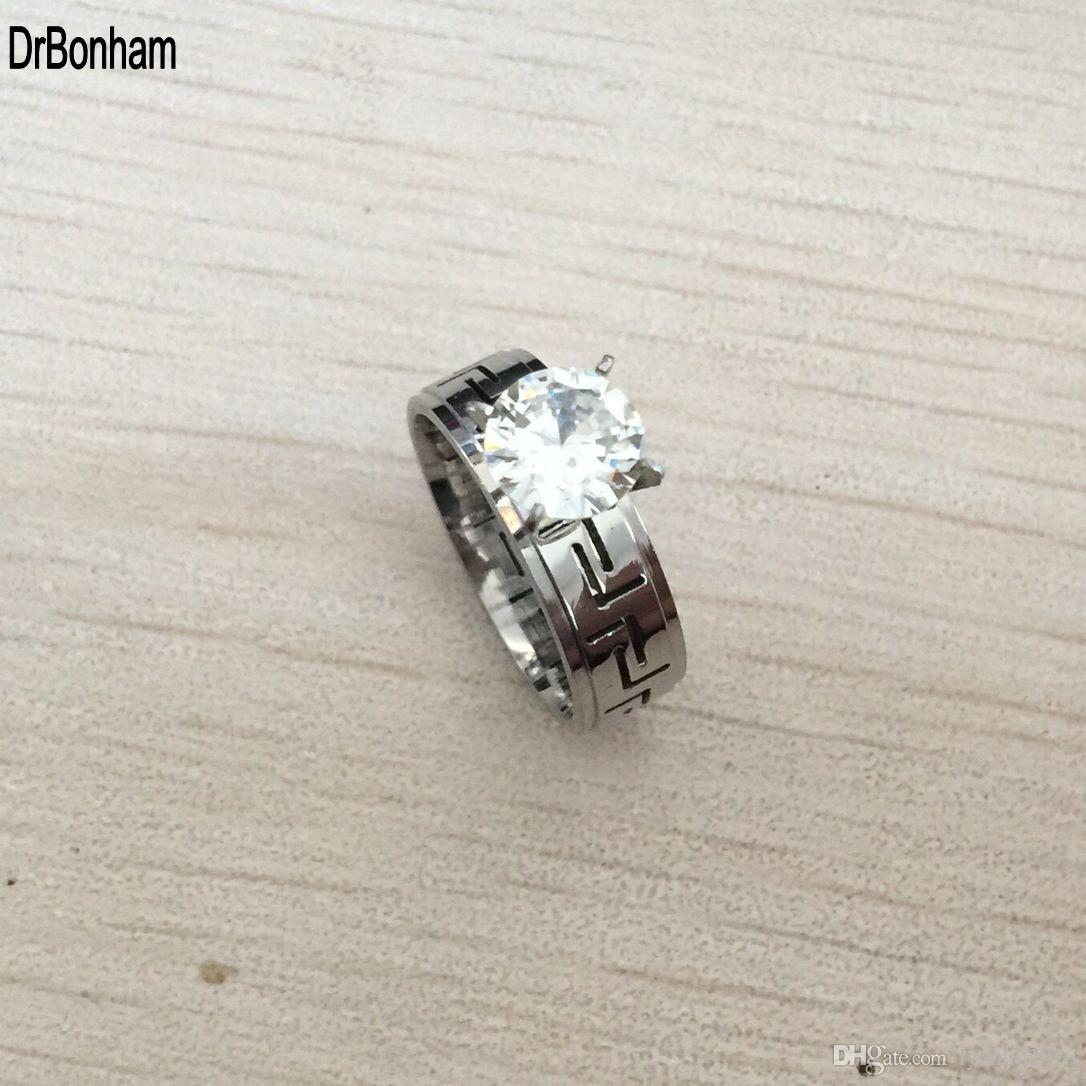 1.2 ct cz diamanti anelli per le donne punk moda gioielli rilievi acciaio anelli di acciaio alla moda anello di lusso argento di lusso anello di colore spedizione gratuita
