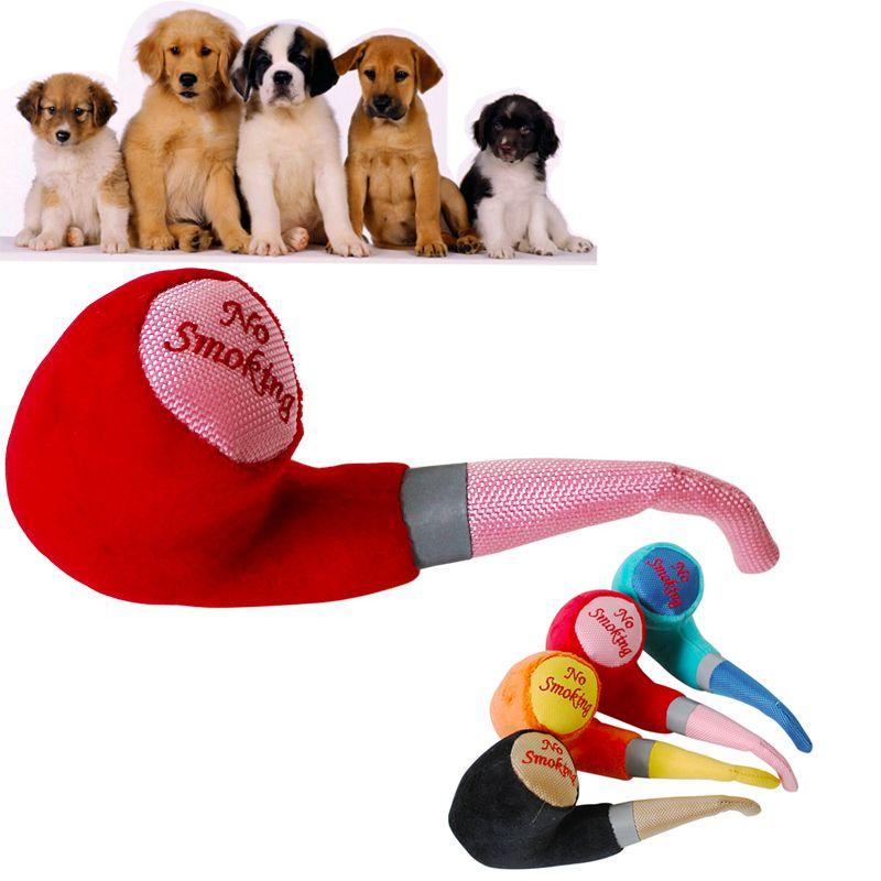 Pelúcia Brinquedo Do Animal de Estimação Plush Tobacco Pipe Cachorro Fresco Brinquedos Do Cão Forma Tubo Colorido Plush BB Som Squeaky Dog Chew Toys