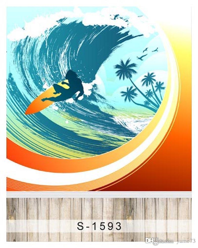 5x7ft vinilo niño niños tabla de surf agua deporte Photo Studio telón de fondo Prop