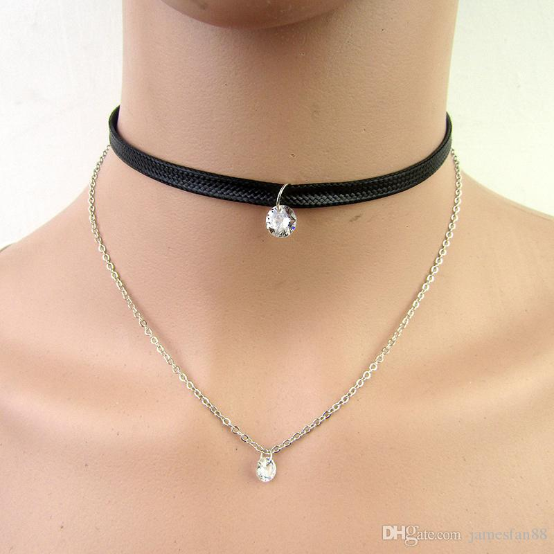 New Arrive Latest Short Necklace Fashion Women Punk Choker Necklaces Sexy Layered Choker For Girls Double-deck