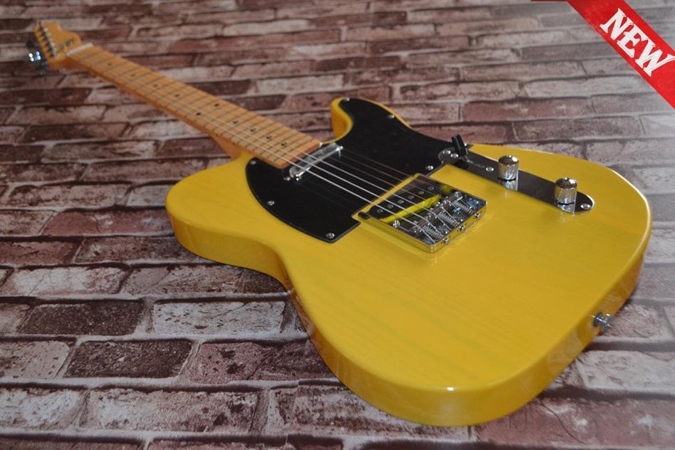 무료 배송 1 목 (스카프 없음)! TELE 솔리드 바디 기타 텔레 캐스터 옐로우 컬러 OEM 일렉트릭 기타 재고 있음