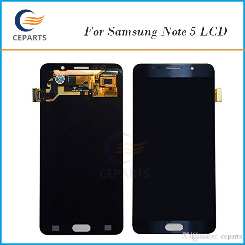 Original Screen For Samsung Galaxy Note 5 N920A N920T LCD Display Touch Screen Digitizer with Frame Complete Parts White and Grey Color
