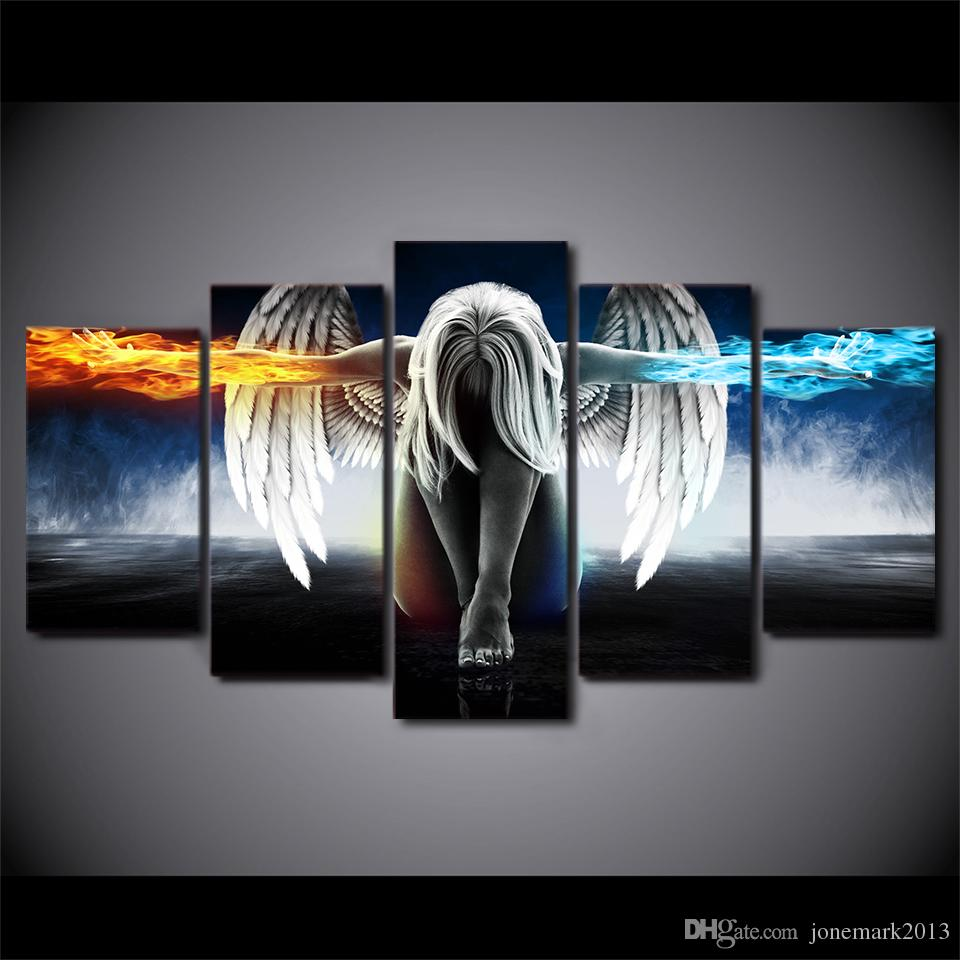 5 Pcs/Set Framed HD Printed canvas art angel with wings painting anime room decor print poster wall art Free shipping/up-874