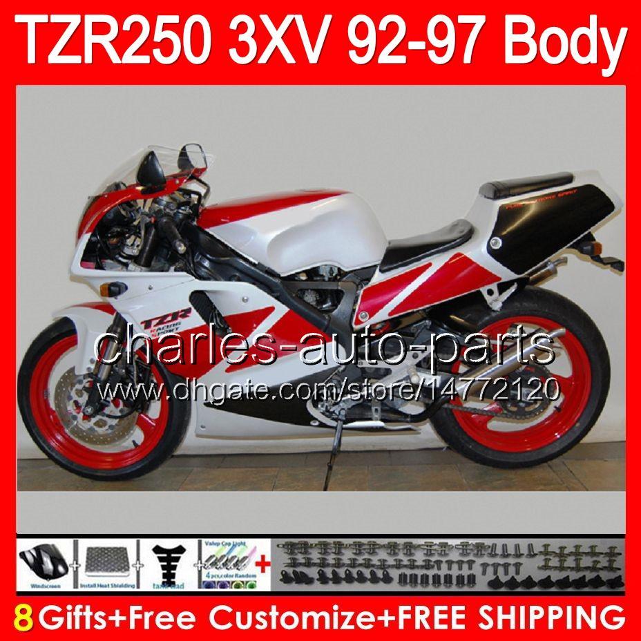 HOT Rosso 8gifts Corpo Bianco Per YAMAHA TZR-250 3XV TZR 250 92 93 94 95 96 97 88HM1 YPVS TZR250 1992 1993 1994 1995 1996 1997 Carena Rosso nero