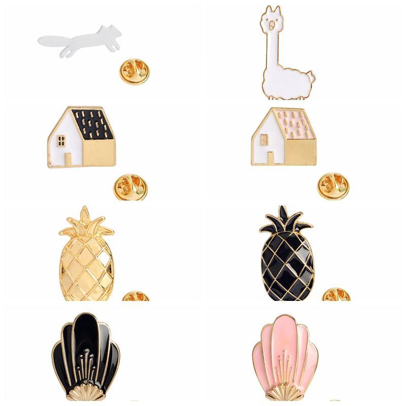 Broches broches ananas alpaca fox fleurs maisons de bijoux façonnés accessoires de bijoux femmes cadeaux