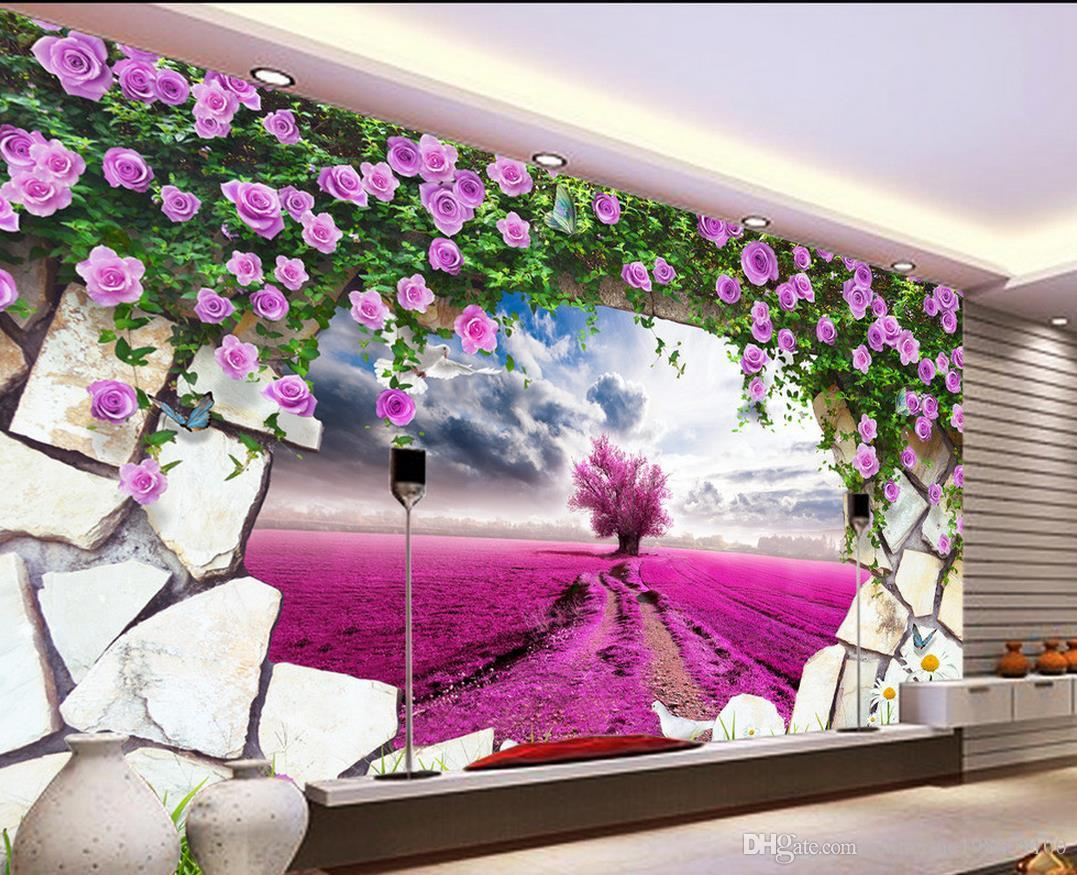 Dream Lavender Yellow Flower Purple Pink Tv Background Wall Mural