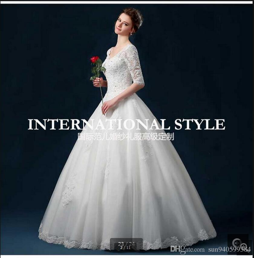 2017 new design ball gown half sleeve modest wedding dress v neck princess puffy corset
