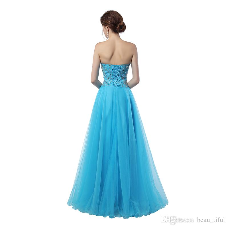 Abiti Da Cerimonia Da Sera.Real Sample Sky Blue Prom Gowns Sweetheart Abiti Da Cerimonia Da