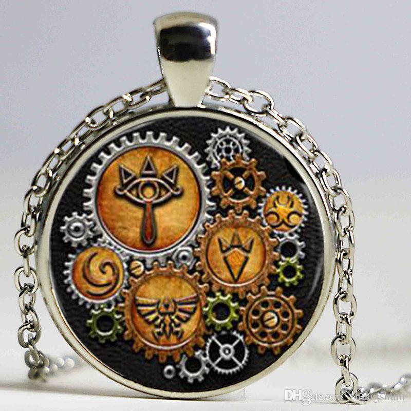 A legenda de zelda steampunk símbolos colar de pingente de vidro cabochão colar