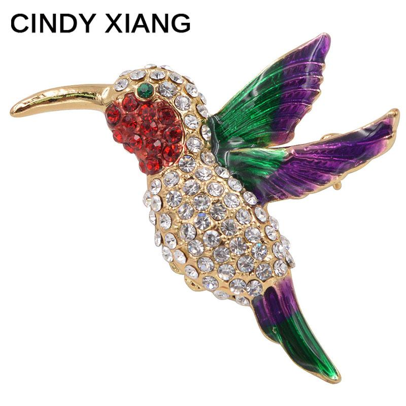 CINDY XIANG New Summer Style CZ Rhinestone Hummingbird Brooches For Women Cute Birds Brooch Pin Small Animal Jewelry Badges
