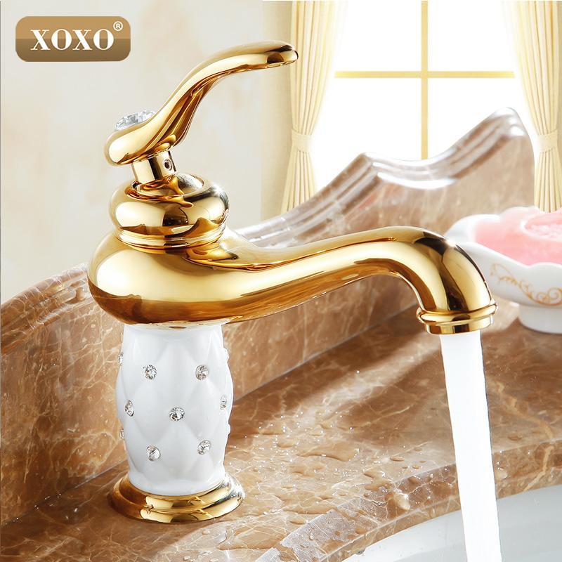 Toptan-XOXO Ücretsiz Kargo banyo havzası altın musluk, Pirinç ile Elmas / kristal vücut musluk Yeni Tek Kolu sıcak ve soğuk dokunun 50015GT