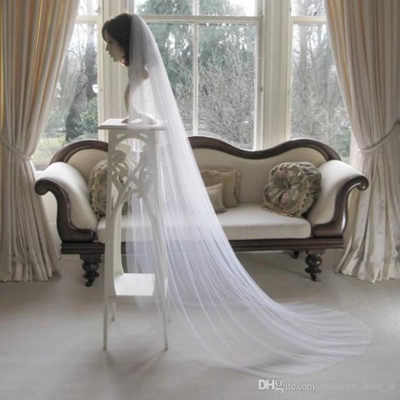 Semplice Design Velo bianco Veli da sposa Lunghezza cappella Accessori per capelli da sposa Custom Made One Layer Soft Tulle for Brides