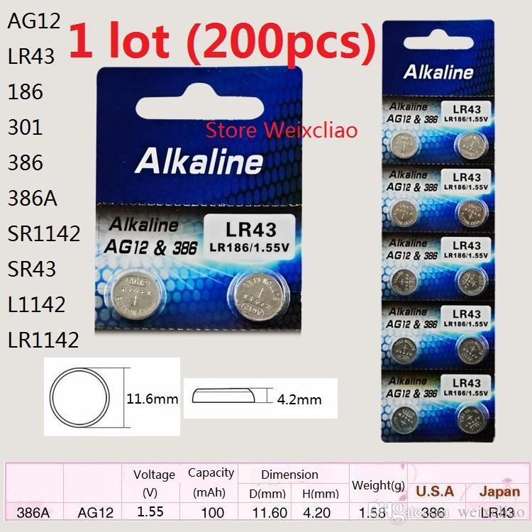 200 قطع 1 وحدة AG12 LR43 186 301 386 386A SR1142 SR43 L1142 LR1142 1.55 فولت بطاريات زر خلية البطارية القلوية شحن مجاني